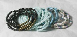 Beaded bracelet, elastic, black, blue, handmade