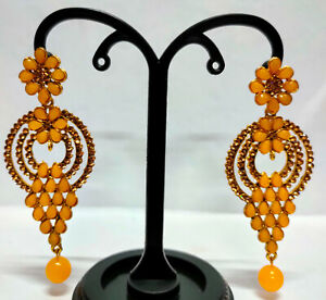 "22K Gold Plated Indian CZ 4"" Long Fashion Yellow Stone Earrings SET Aal"