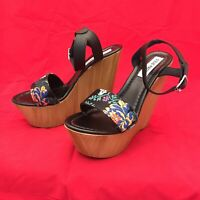 Steve Madden BELLA wood wedge platform black shoes sandals 8