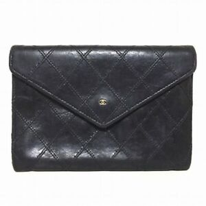Auth CHANEL Bicolore Black Lambskin Other Style Wallet