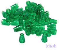 LEGO - 50 x Kegel 1x1 transparent grün / Kegelstein transgrün 4589b NEUWARE (L3