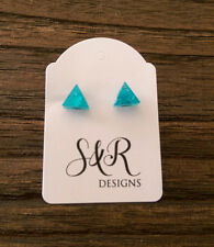 Triangle Resin Stud Earrings, Blue Silver Leaf Mix Earrings 7mm