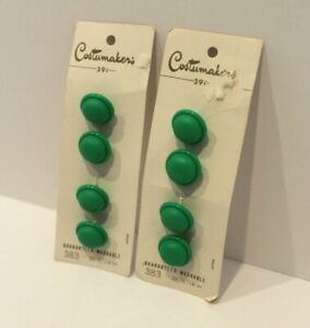 Vintage round Buttons 2 cards (8) Costumakers Green Notions NOS Original Card