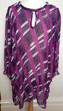 BASQUE WOMAN Sheer Magenta 3/4 Sleeve Drop Elastic Waist Keyhole Neck Blouse 18