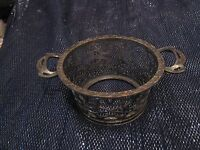 Very pretty silver tone metal Martin Hall & Co Ltd container basket 2ins tall