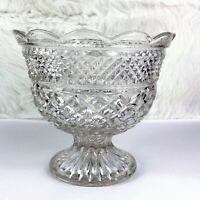 Vintage Anchor Hocking Crystal Wexford Glass Centerpiece Footed Bowl