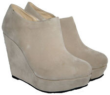 """LADIES BEIGE FAUX SUEDE 4.5"""" WEDGE HEEL ANKLE BOOT WITH SIDE ZIP IN SIZE 6"""