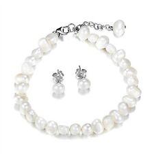 White pearl bracelet bridal jewellery set wedding bridesmaid