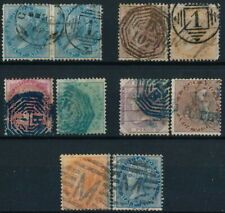 BRITISH INDIA QUEEN VICTORIA, UNCHECKED POSTMARKS ON 10 DIFF. STAMPS, SEE. #Z821
