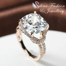 18K Rose Gold Plated Made With Swarovski Crystal Luxury 7.0 ct Cushion Cut Ring