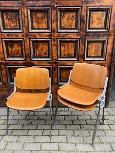 3x Castelli Piretti Stapelstuhl Seminarstuhl Wood Holz Vintage Designer SALE