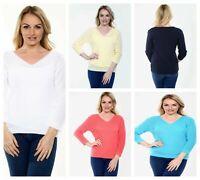 UK Women V-Neck Fine Knitted Jumper Oversized Baggy Long Sleeve Tops Pullover
