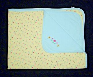 VTG FLAW Gymboree 1998 Baby Blanket Aqua Yellow Pink Blue Flower Floral Security