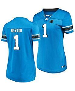 Women's Majestic NFLCarolina Panthers  #1 Cam Newton V-Neck Jersey Shirt NWT