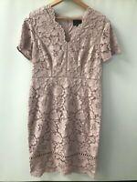 Phase Eight ® Trinity Lace Sheath Dress - Dusty Rose - UK 16 - NEW - RRP = £150