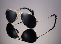 POLARIZED RAY-BAN Folding Aviator 22KT GOLD P3 Plus Sunglasses RB 3479KQ 001 N5