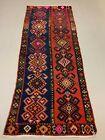 Vintage Turkish Kilim 264x110 cm Wool Kelim Rug Large Red Navy Runner
