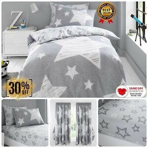 Kids Duvet Cover Set Boy & Girl Reversible Bedding Star Fitted Sheet or Curtains