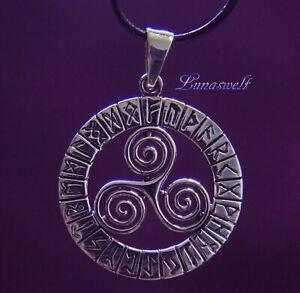Keltenschmuck Triskele im Runenkreis Amulett Anhänger 925 Silber Wikingerschmuck