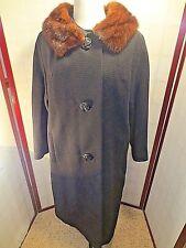 Vintage Wood blend coat MINK COLLAR Hengerer's BLACK L
