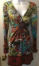 BEIGE By ECI Jersey Knit Dress Floral Paisley Print Colorful Beaded V-Neck Sz M