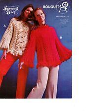 Group of 6 Bouquet Vintage patterns. Fringed Cardigan, Vests & more