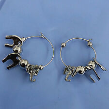 Silver Plated Cute Elephant Silver Beads 3.5 cm Ring Danlge Drop Huggie Earrings