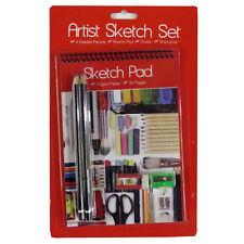 Artists Sketching Kit - 4 Graded Pencils, Eraser, Sharpener, A5 Sketch Notepad