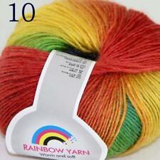 Sale Soft Cashmere Wool Colorful Rainbow Wrap Shawl DIY Hand Knit Yarn 50gr 10