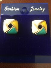 Enamel Woven Square Stud Earrings Cute New Yellow Gold Plated Multi-Color