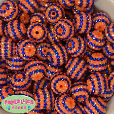 20mm Royal Blue and Orange Stripe Rhinestone Bubblegum Beads 20 pc school spirit