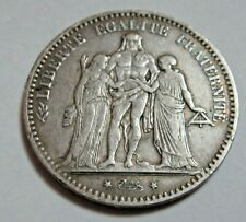 More details for 1875 silver 5 francs hercules group french republique  *