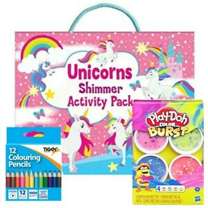 Kids Activity Pack, Colouring Books, Color pencils, Reusable Stickers + Play Doh