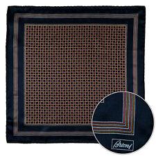 Men's BRIONI Black Pink Gold Swirl Silk Hand Rolled Pocket Square Handkerchief
