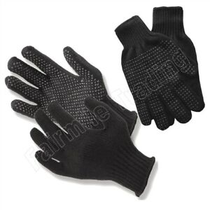 Black Gripper Gloves Adult One Size Magic Stretchy Woolen Winter Warm Thermal