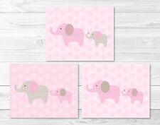 Pink & Tan Elephant Printable Nursery Wall Art