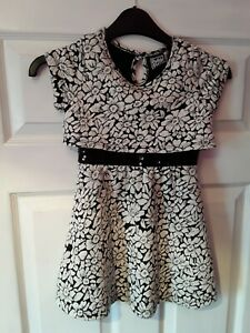 Girls Pogo Club Black & White Floral Party Dress Age 5 to 6 BN Sequins