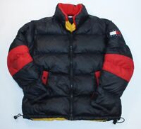 Tommy Hilfiger Black Red Mens Large Puffer Puffy Coat Jacket Down Feather
