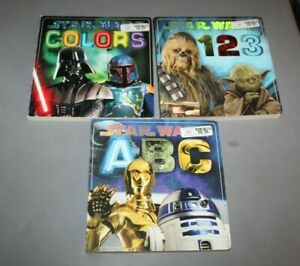 Star Wars Board 3 Book Set~A B C alphabet~Numbers 1 2 3~Colors~Excellent~Large