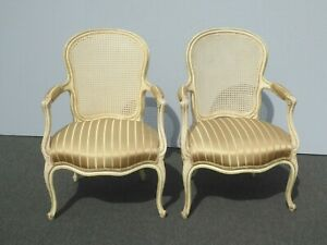 Pair of Vintage French Provincial Country Cane Back Arm Chairs