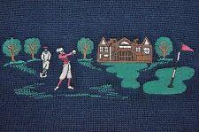 Mens Sz Lg Blarney Castle Designs Golf Sweater Navy Blue Wool Blend Ireland Made