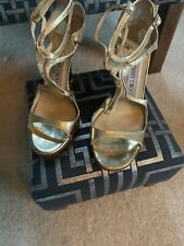 Jimmy Choo Lance Gold Mirror Leather 115 High Heel Sandals
