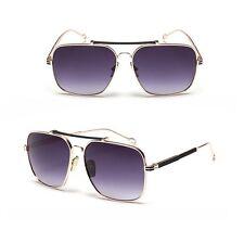 Square Aviator Gold Frame Metal Bar Designer Men Retro Fashion Sunglasses