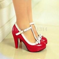 Womens New Bowknot T-Strap High Heels Mary Janes Lolita Dress Shoes Pumps Size 9