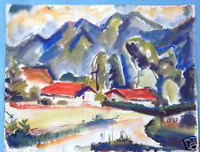 4v5:Aquarell Gemälde Landschaft Tegernsee Verschollene Generation M. Helwig 1955