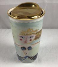 2015 Starbucks Gold Color Lid Siren Mermaid Ceramic Travel Tumbler Cup Mug