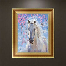 DIY 5D Diamond Embroidery Painting White Horse Cross Stitch Kit Craft Home Decor