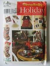 Simplicity Holiday Sewing Pattern #7326 Christmas Stocking Tree Skirt Gift Bag