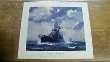 Lg Gordon Grant 1942 WWII Print Naval Battleship USS Pennsylvania Northern Pump