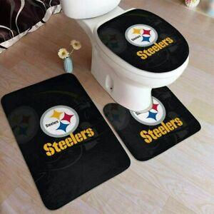 Pittsburgh Steelers 3PCS Bathroom Set Rug Bath Mat Toilet Lid Cover Contour Mat